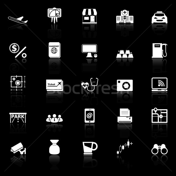 Application icons with reflect on black background Stock photo © nalinratphi