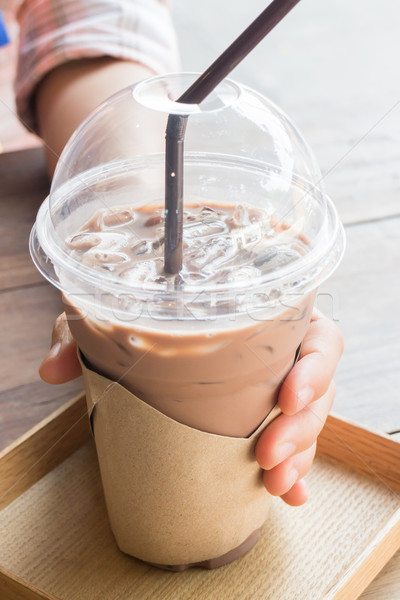 Glass of coffee mocha with ice Stock photo © nalinratphi