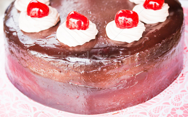 Fresh bake chocolate cake with cherry and whipped cream  Stock photo © nalinratphi