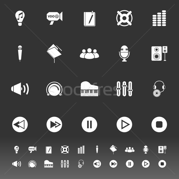 Music icons on gray background Stock photo © nalinratphi