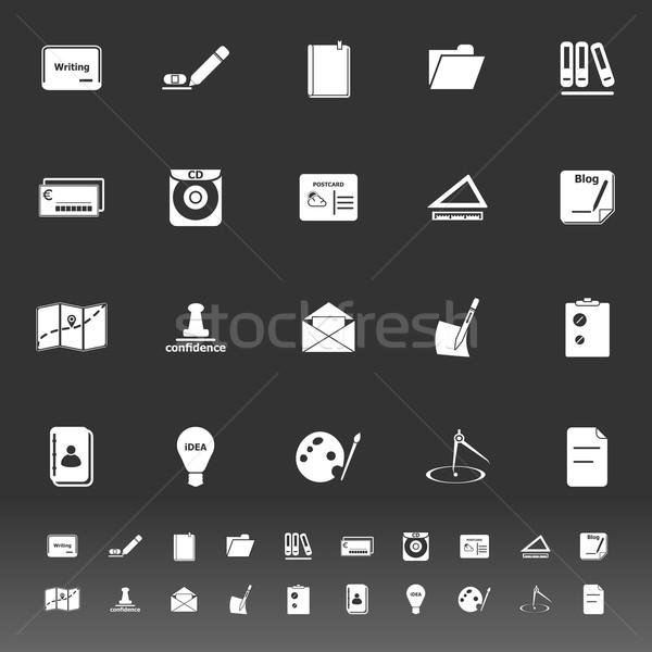 Escrito iconos gris stock vector libro Foto stock © nalinratphi