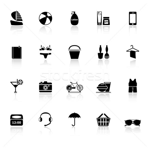 Beach icons with reflect on white background Stock photo © nalinratphi