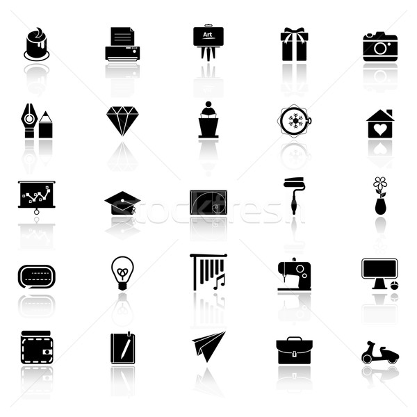 Art and creation icons with reflect on white background Stock photo © nalinratphi