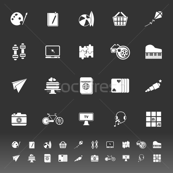 Hobby icons on gray background Stock photo © nalinratphi