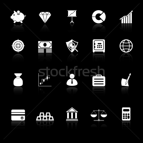Finance icons with reflect on black background Stock photo © nalinratphi