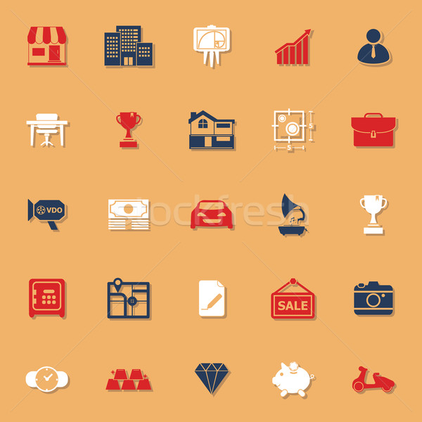 Asset and property classic color icons with shadow Stock photo © nalinratphi