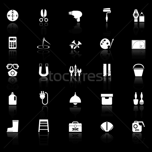 DIY tool icons with reflect on black background Stock photo © nalinratphi