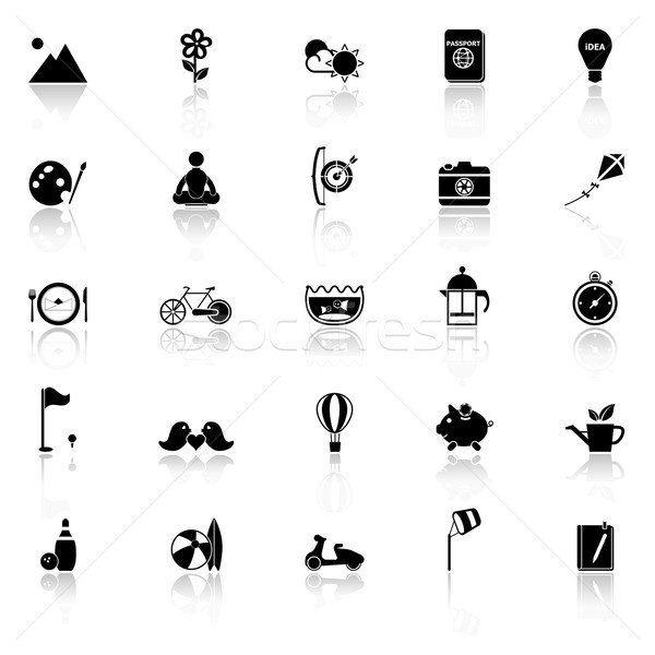 Slow life activity icons with reflect on white background Stock photo © nalinratphi
