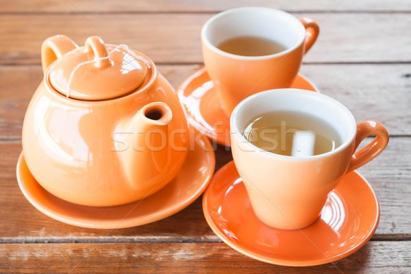 Sıcak çay seramik pot stok Stok fotoğraf © nalinratphi