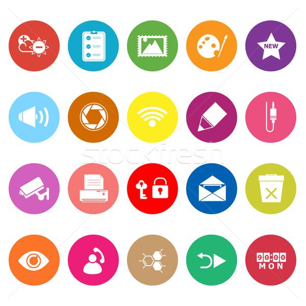 Algemeen computerscherm iconen witte voorraad vector Stockfoto © nalinratphi