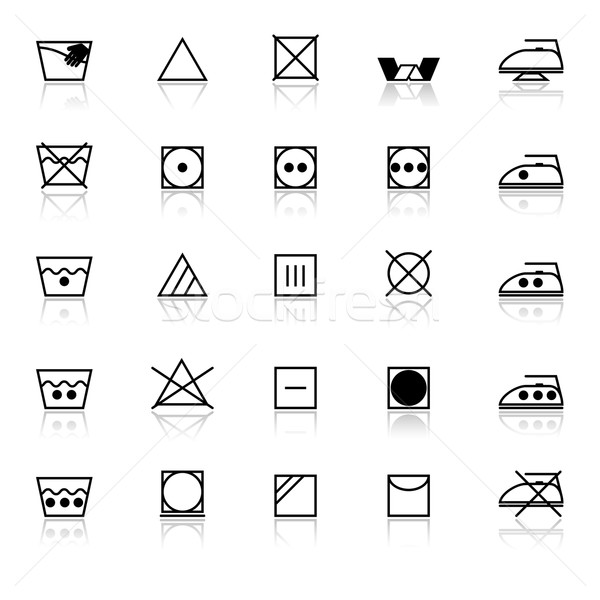 Fabric care sign and symbol icons with reflect on white backgrou Stock photo © nalinratphi