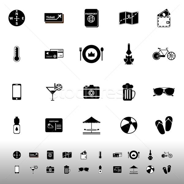 Utazás ikonok fehér stock vektor pénz Stock fotó © nalinratphi
