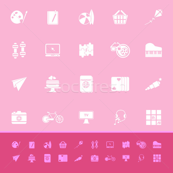Hobby color icons on pink background Stock photo © nalinratphi