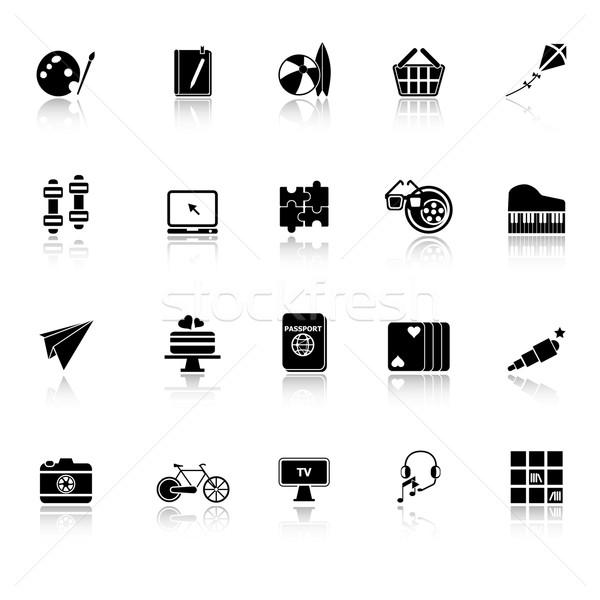 Hobby icons with reflect on white background Stock photo © nalinratphi