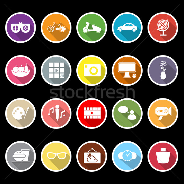 Favorite and like flat icons with long shadow Stock photo © nalinratphi