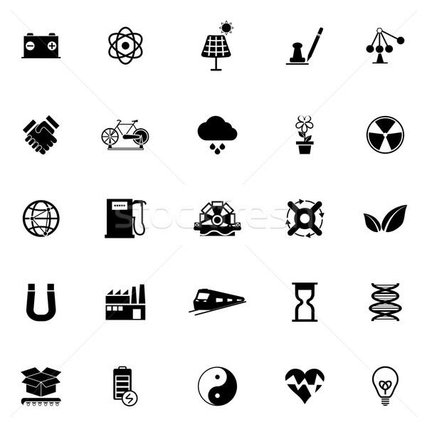 Energii ze źródeł odnawialnych ikona biały czas wektora słońce Zdjęcia stock © nalinratphi