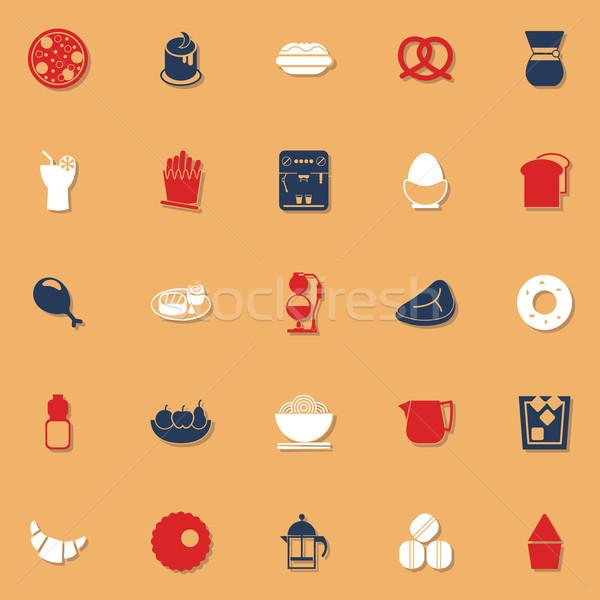 Fácil comida clásico color iconos sombra Foto stock © nalinratphi