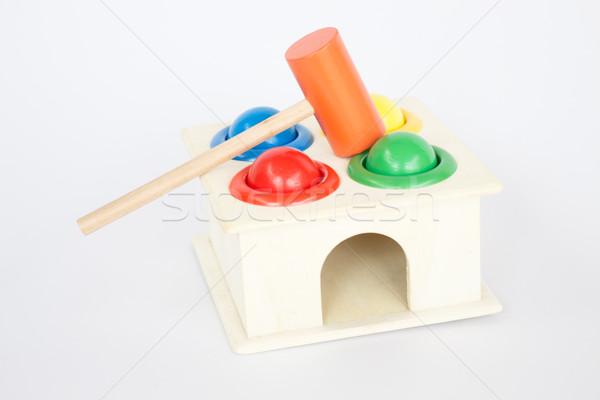 Kleurrijk hamer geval houten speelgoed witte tabel Stockfoto © nalinratphi