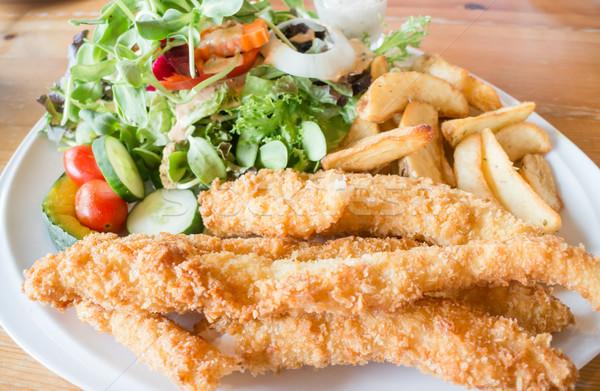 グルメ 魚 チップ サラダ 在庫 写真 ストックフォト © nalinratphi
