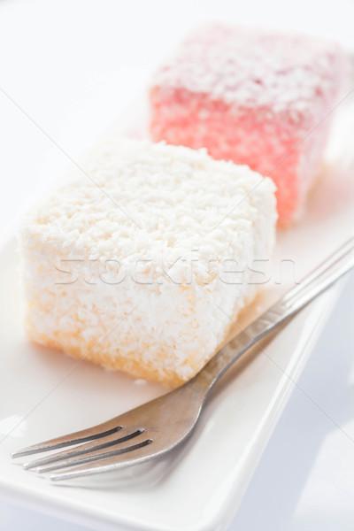 Spons gebak vork voorraad foto Stockfoto © nalinratphi