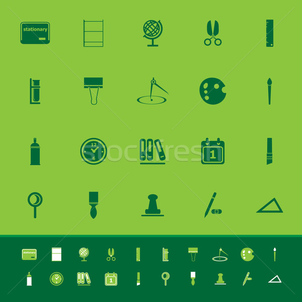 General stationary color icons on green background Stock photo © nalinratphi