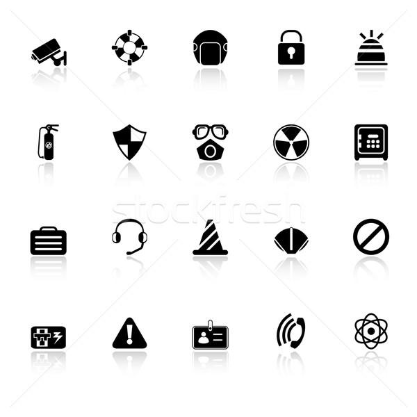 Biztonság ikonok fehér stock vektor biztonság Stock fotó © nalinratphi