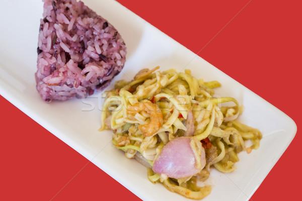 Spicy green mango salad with berry sticky rice Stock photo © nalinratphi
