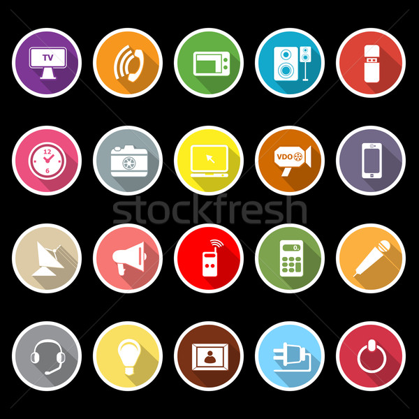 Electronic icons with long shadow Stock photo © nalinratphi