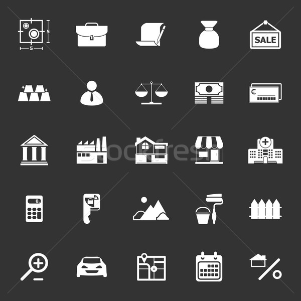Mortgage and home loan icons on gray background Stock photo © nalinratphi
