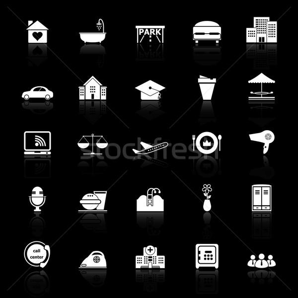 Vendégszeretet üzlet ikonok fekete stock vektor Stock fotó © nalinratphi