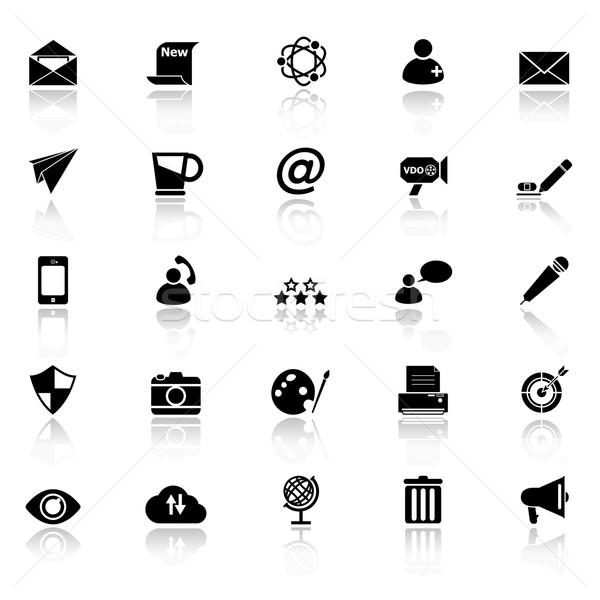 Messaggio e-mail icone bianco stock vettore Foto d'archivio © nalinratphi