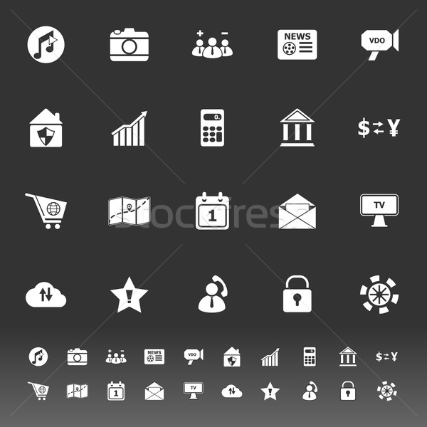 Smart phone icons on gray background Stock photo © nalinratphi