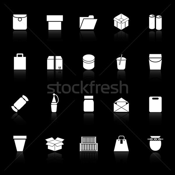 Csomag ikonok fekete stock vektor terv Stock fotó © nalinratphi