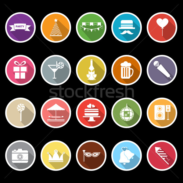 Party icons with long shadow Stock photo © nalinratphi