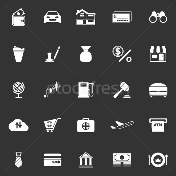 E wallet icons on gray background Stock photo © nalinratphi
