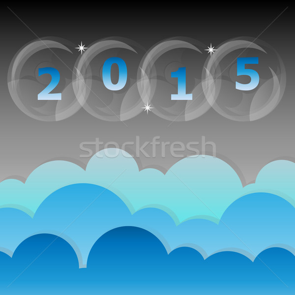 New year 2015 night star and cloud sky background Stock photo © nalinratphi