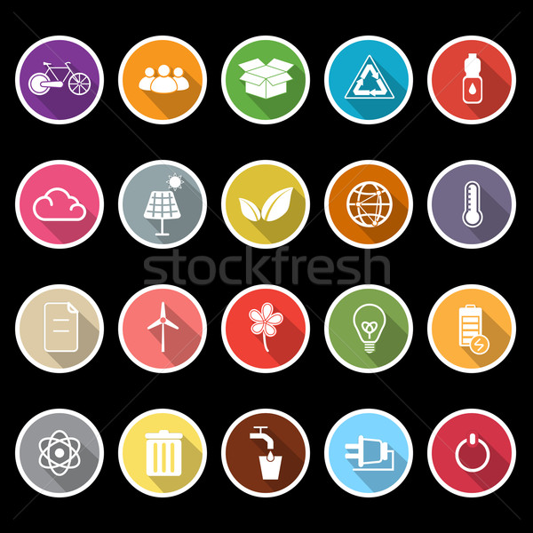 Ecology icons with long shadow Stock photo © nalinratphi