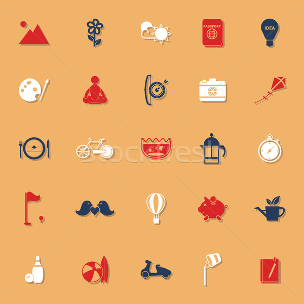 Slow life activity classic color icons with shadow Stock photo © nalinratphi