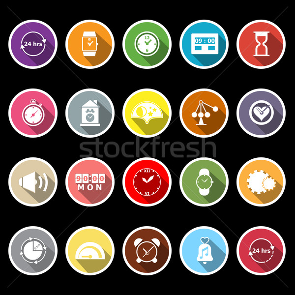 Time related flat icons with long shadow Stock photo © nalinratphi