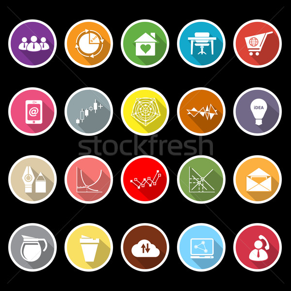 Virtual organization flat icons with long shadow Stock photo © nalinratphi