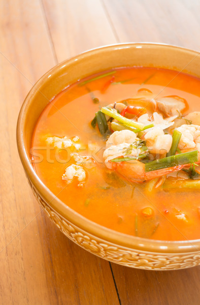 Tom Yum Kung thai spicy seafood soup Stock photo © nalinratphi