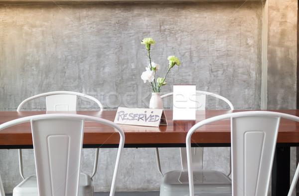 Mock up frame on table in bar restaurant cafe Stock photo © nalinratphi