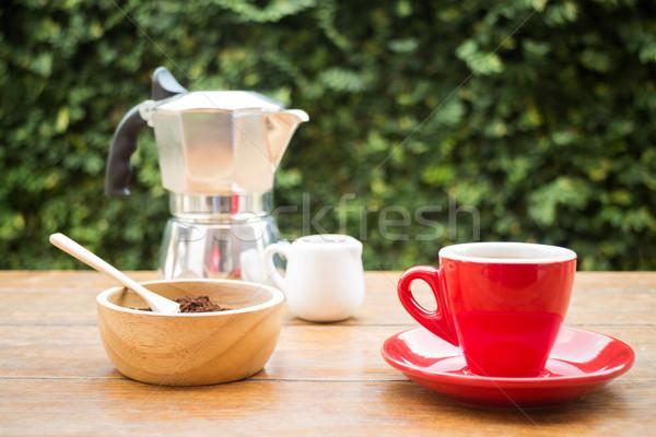 Red cup of hot espresso shot Stock photo © nalinratphi