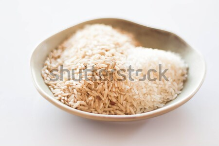 Heart mound of natural brown and white rice Stock photo © nalinratphi