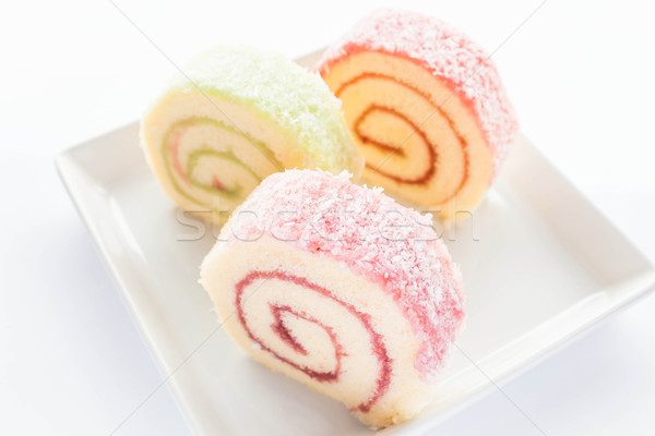 Colorful jam roll cakes  on the dish  Stock photo © nalinratphi