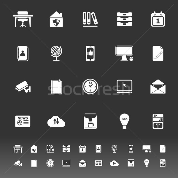 Home office icons on gray background Stock photo © nalinratphi