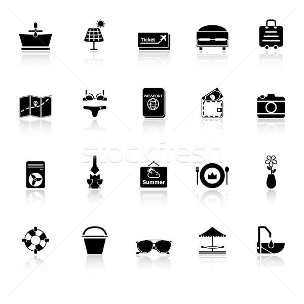 Lata ikona biały czas wektora szczęśliwy Zdjęcia stock © nalinratphi