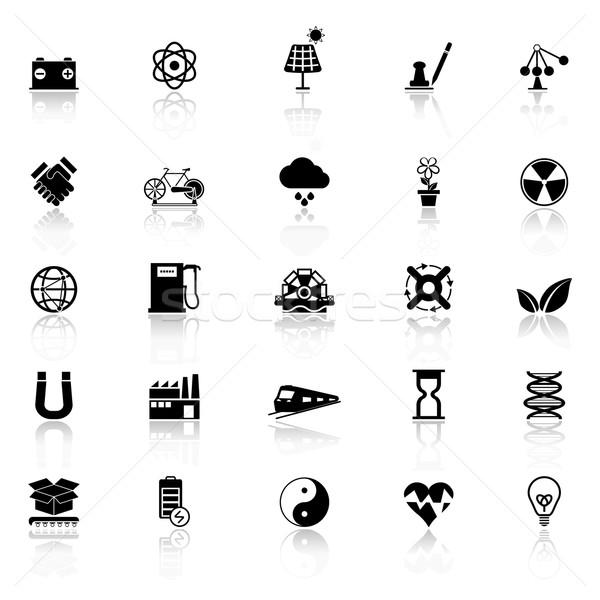 Energii ze źródeł odnawialnych ikona biały czas wektora działalności Zdjęcia stock © nalinratphi