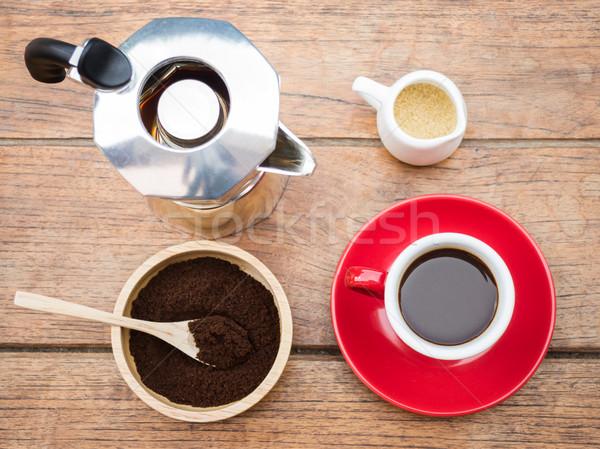 Kırmızı fincan sıcak espresso atış stok Stok fotoğraf © nalinratphi