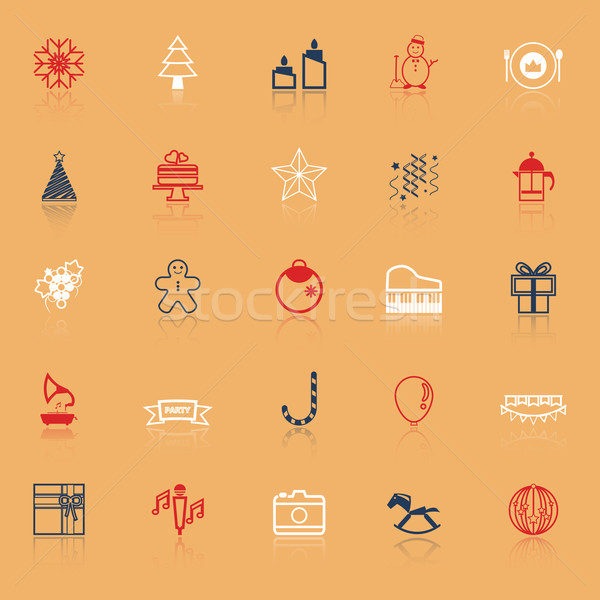 New year and christmas line icons on with reflect Stock photo © nalinratphi